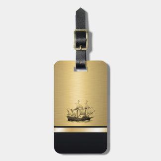 エレガントな古代船の金ゴールドのモノグラム ネームタグ
