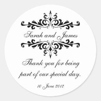 エレガントな名前入り結婚式のステッカー感謝していしています ラウンドシール