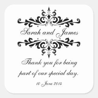 エレガントな名前入り結婚式用シール感謝していしています スクエアシール