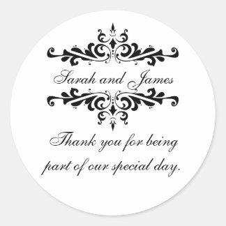 エレガントな名前入り結婚式用シール感謝していしています ラウンドシール