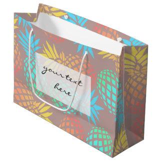エレガントな夏の熱帯多彩なパイナップルパターン ラージペーパーバッグ