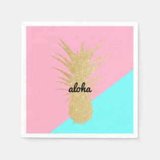 エレガントな夏の金ゴールドのグリッターのパイナップルピンクのミント スタンダードカクテルナプキン