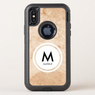エレガントな大理石の石造りのモノグラム オッターボックスディフェンダーiPhone X ケース