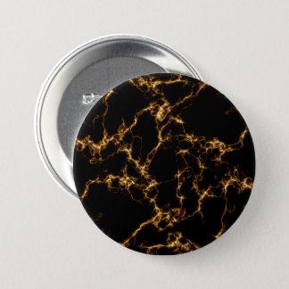 エレガントな大理石style3 -黒い金ゴールド 7.6cm 丸型バッジ