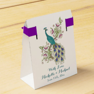 エレガントな孔雀の結婚式の引き出物箱 フェイバーボックス