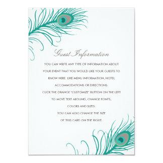 エレガントな孔雀の結婚式の挿入物 カード