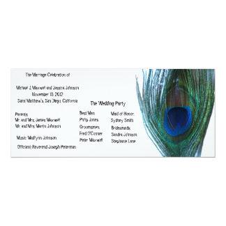 エレガントな孔雀の結婚式プログラム カード