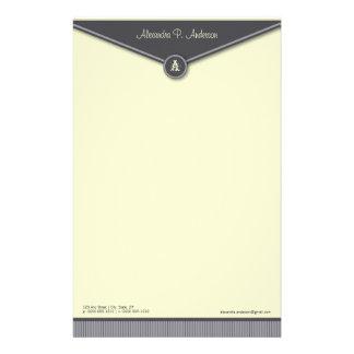 エレガントな封筒(石板)のモノグラムの文房具 便箋