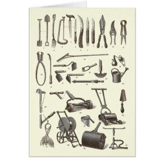 エレガントな庭師-旧式な園芸工具 カード