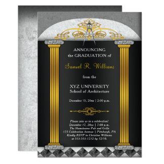 エレガントな建築家の建築のコンパスの卒業 カード