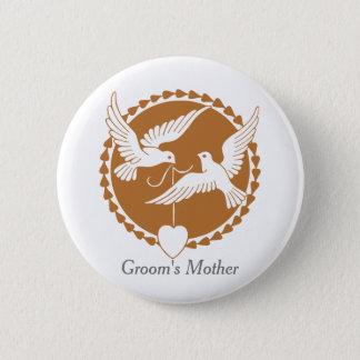 エレガントな愛鳩の新郎の母バッジ 5.7CM 丸型バッジ