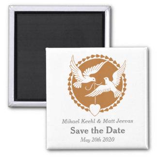 エレガントな愛鳩は日付の結婚式の磁石を救います マグネット