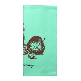 エレガントな手描きの休日の要素の布のナプキン ナプキン