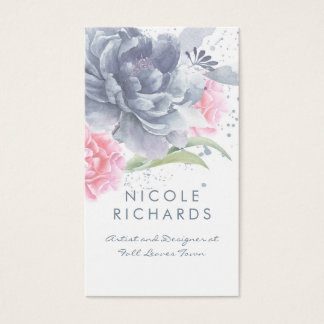 エレガントな挨りだらけの青く、柔らかいピンクの水彩画の花柄 名刺