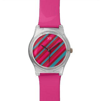 エレガントな斜め色のストライブ柄 腕時計