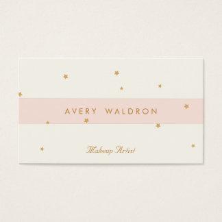 エレガントな星の淡いピンクのクリーム色の白人のメーキャップアーティスト 名刺