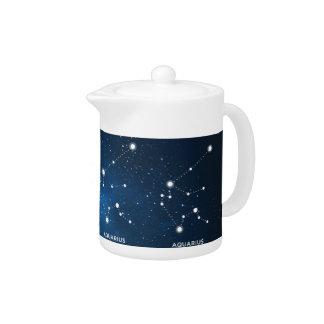 エレガントな星明かりの青い水彩画の宇宙-アクエリアス