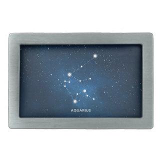 エレガントな星明かりの青い水彩画の宇宙-アクエリアス 長方形ベルトバックル