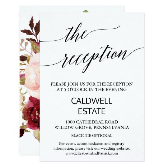 エレガントな書道|の花柄の背部披露宴の挿入物 8.9 X 12.7 インビテーションカード