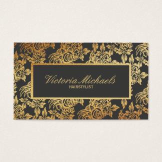 エレガントな木炭および金ゴールドの花の名刺 名刺