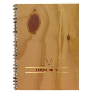 エレガントな木製の質、素朴及び名前入り ノートブック