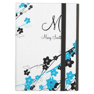 エレガントな桜のカスタムなモノグラムの青 iPad AIRケース