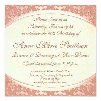 エレガントな母の第60誕生日のヴィンテージのパーティー 13.3 スクエアインビテーションカード