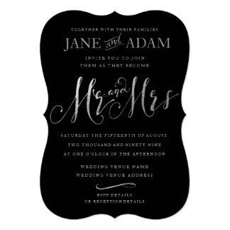エレガントな氏及び夫人Black及び銀製のタイポグラフィの結婚 カード
