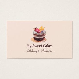 エレガントな水彩画のケーキのpatisserieのカップケーキのデザート 名刺