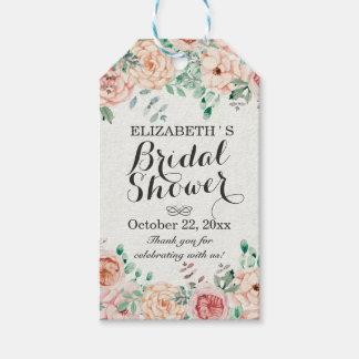 エレガントな水彩画の花の結婚式のブライダルシャワー ギフトタグ