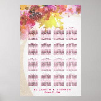 エレガントな水彩画の花の結婚式の座席の図表 ポスター