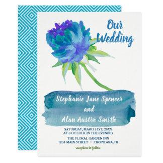 エレガントな水彩画の青い花の結婚式招待状 カード