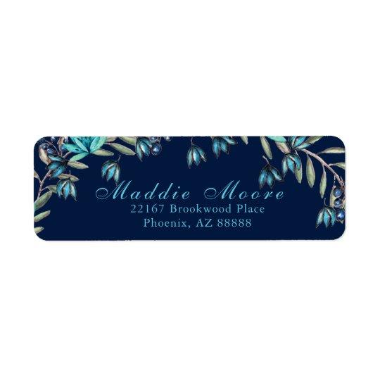 エレガントな水彩画の青かティール(緑がかった色)の花柄パターン 返信用宛名ラベル
