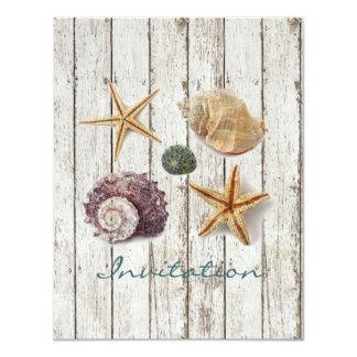 エレガントな波止場の木製の貝殻のビーチ結婚式 10.8 X 14 インビテーションカード