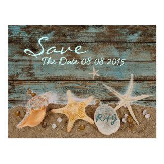 エレガントな海の貝殻のビーチの保存日付 ポストカード