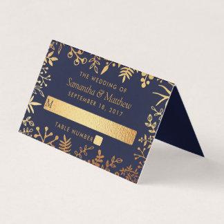 エレガントな海軍及び金ゴールドの花の結婚式のコレクション プレイスカード
