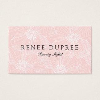 エレガントな淡いピンクの花の美しいのスパ 名刺