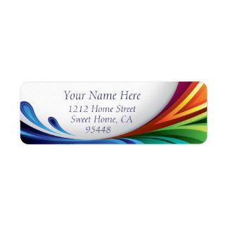 エレガントな渦巻く虹のしぶき-帰りのラベル- 1 ラベル