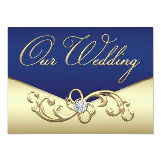 エレガントな濃紺および金ゴールドの結婚 カード