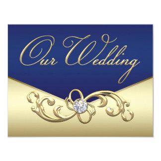 エレガントな濃紺および金ゴールドの結婚 10.8 X 14 インビテーションカード