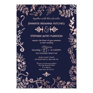 エレガントな濃紺のバラの金ゴールドの花の結婚式の招待 カード