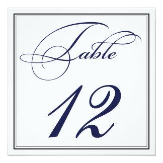 エレガントな濃紺の原稿のテーブル数カード 13.3 スクエアインビテーションカード