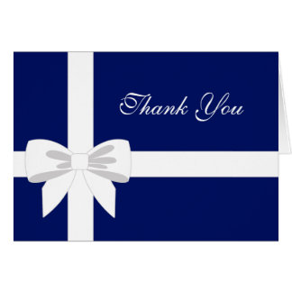 エレガントな濃紺の白いリボンは感謝していしています カード