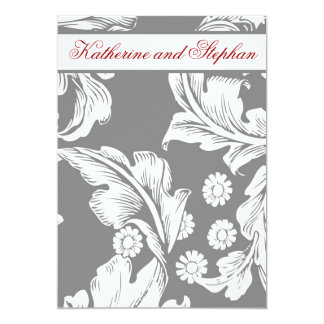 エレガントな灰色および白い結婚記念日 カード