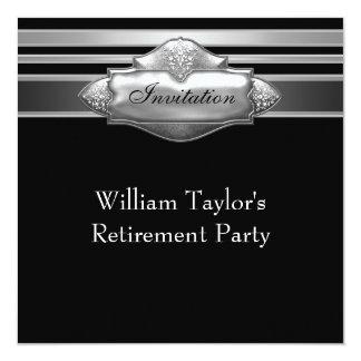 エレガントな灰色および退職パーティーを黒人男性 カード