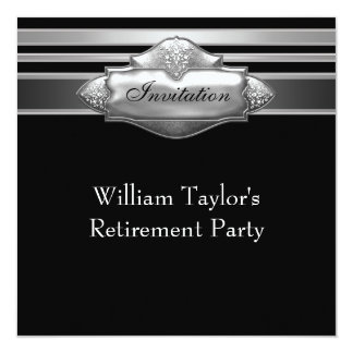 エレガントな灰色および退職パーティーを黒人男性 13.3 スクエアインビテーションカード