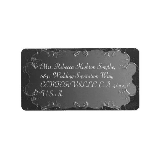 エレガントな灰色および銀製結婚式の宛名ラベル 宛名ラベル