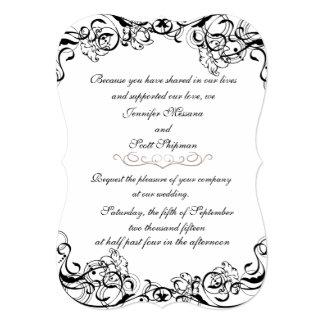 エレガントな灰色および黒い結婚式招待状 12.7 X 17.8 インビテーションカード