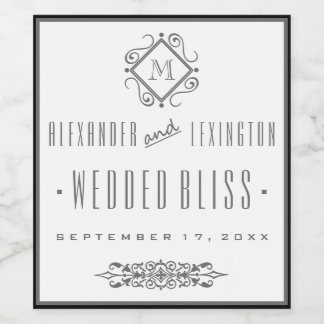 エレガントな灰色のモノグラムのな結婚式のワインのラベル ワインラベル
