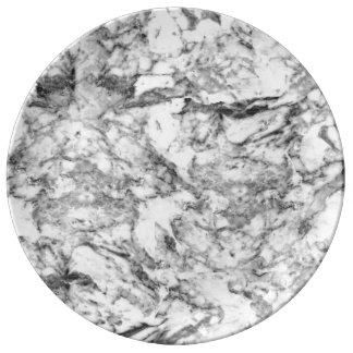 エレガントな灰色白のモダンな大理石の質パターン 磁器プレート